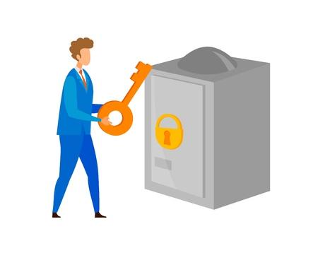 Capital Protection, Security Vector Illustration. Businessman, Entrepreneur Holding Large Key Cartoon Character. Banking Business, Personal Fund Safety, Locked Safe. Banker, Clerk, Bank Manager