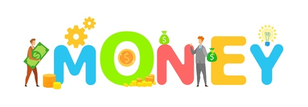 Profitable Business, Money Word Concept Banner. People Holding Cash Cartoon Characters. Financial Literacy School, Finances Management Courses. Stock market Trading Flat Vector Poster Illustration