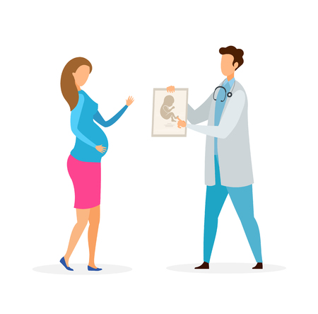 Pregnant Woman Visiting Gynecologist Illustration. Future Mother at Ultrasound Diagnostics. Cartoon Lady Touching Belly. Male Obstetrician Consulting Patient Flat Vector Characters