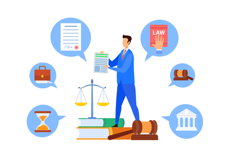 Common Law Professor, Teacher Vector Character. Executive Process and Advocacy University Department Flat Illustration. Cartoon Employment Lawyer, Tutor Giving Administrative Law Lecture