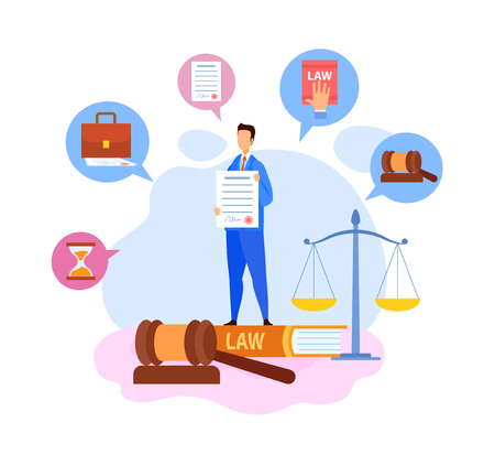 Businessman, Boss Showing Contract Terms Character. Employment Law Flat Vector Illustration. Cartoon Notary Assistant Holding Legal Document Page. Student with Lawyer School Certificate