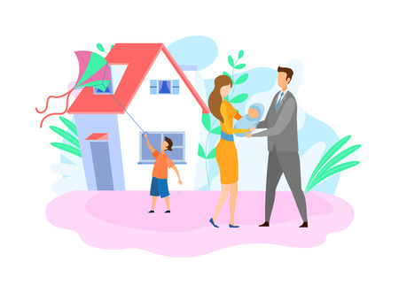 Family with Children Flat Vector Illustration. Wife, Husband and Kids Cartoon Characters. Happy Couple Holding Newborn Child, Little Son Playing with Kite. Parents outside House, Parenting, Childcare