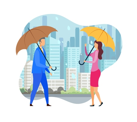Romantic Date under Rain Flat Vector Illustration. Man and Woman Holding Parasols Cartoon Characters. Autumn Cityscape, Rainy Season, Dating. Couple in Love, Friends Meet in bad Weather