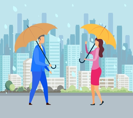 Rainy Day, Bad Weather Flat Vector Illustration. Man and Woman Holding Umbrellas Cartoon Characters. Autumn Cityscape, Rain Season, Meteorology. Friendly Passers, Friends Meet on Street