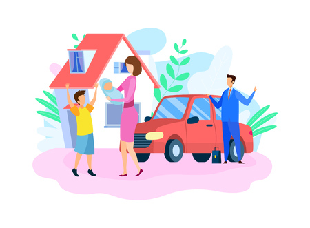Traditional Happy Family Flat Vector Illustration. Husband, Wife and Children Cartoon Characters. Young Mother Arrived Home from Maternity Clinic, Little Son Welcomes Mom. Father Standing by Car Ilustração
