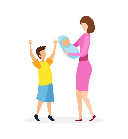 Young Lady with Kids Flat Vector Illustration. Happy Mother, Little Boy and Infant Cartoon Characters. Woman Holding Newborn Child, Joyful Older Brother. Maternity, Childcare, Motherhood Illustration