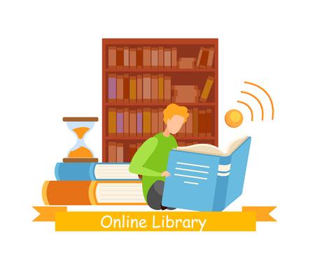 Bibliophile dans le modèle de vecteur de bannière Web de bibliothèque. Archives de la bibliothèque électronique de la littérature moderne, ancienne et classique. Lignes de dossiers dans l'illustration de couleur d'étagère. Lieu de travail, bureau avec zone de connexion sans fil