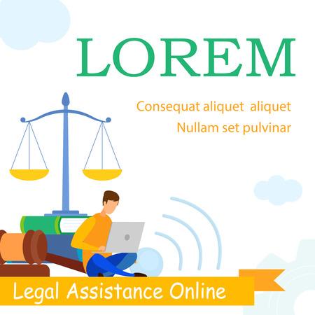 Advocaat School, Law Practice webbannersjabloon. Jurisprudentie Consulting, juridisch advies, ondersteuning, e-learning webbanner. Advocaat beantwoordt vragen van klanten online stripfiguur Vector Illustratie