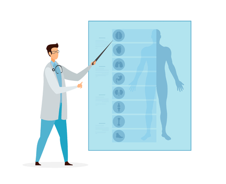 Anatomy Lesson, Class Cartoon Vector Illustration. Doctor Pointing on Body Parts and Human Internal Organs. Medicine Course, Webinar. Tutor, Educator Flat Character. Medical University Student Çizim