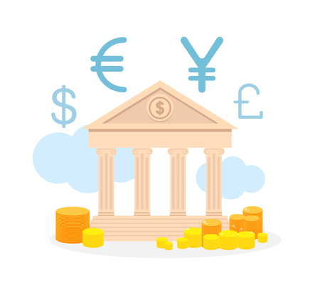 Currency Exchange Service Flat Vector Illustration. Loan Offer, Foreign Money Change. Coin Stacks outside Bank. Banking Business Advertising. Dollar, Euro, Yen and Pound Sterling Icons