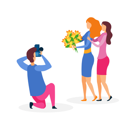 Girlfriends Photo Session Flat Vector Illustration. Female Models Holding Flowers Bouquet and Cameraman Cartoon Characters. Professional Photography Service, Studio. Photographer Profession