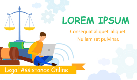 Legal Industry, Notary Online Flat Web Banner. Law University Library Books, Textbooks Vector Color Illustration. Intern, Attorney, Insurance Agent Assistant Cartoon Character Studying, Learning