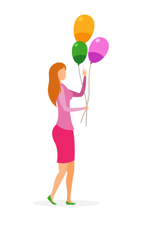 Woman with Inflatable Balloons Vector Illustration. Fashionable Lady in Casual Clothes Cartoon Character. Faceless Girl Holding Festive Decorations. Surprise Birthday Party Isolated Design Element