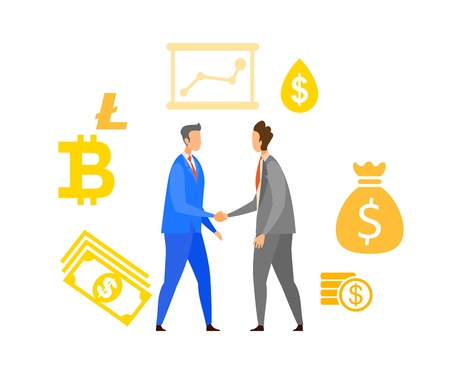 Business Partnership Flat Vector Illustration. People Making Deal Cartoon Characters. Businessmen Handshake, Agreement. Successful Meeting, Negotiation. International Relationship Establishment