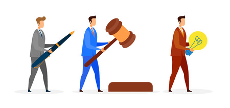 Male Teacher, Lawyer Flat Vector Characters Set. Auctioneer, Legal Advisor Holding Gavel Color Illustration. Tutor, Educator Holding Light Bulb, Brainstorming. Cartoon Writer, Copywriter with Huge Pen