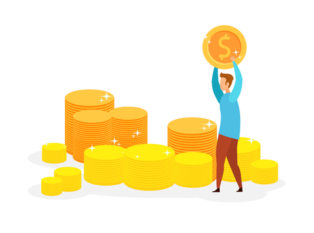 Millionaire, Lottery Winner Vector Illustration. Young Rich Man Holding Golden Coin Cartoon Character. Successful Investment, Happy Businessman, Cheerful Entrepreneur. Financial Genius Ilustração