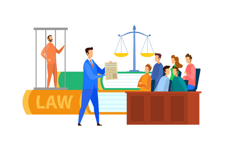 Jury Trial Process Cartoon Vector Illustration. People in Court Making Decision. Criminal Defense Lawyer Protecting Charged Customer. Plaintiff, Public Prosecutor, Barrister, Criminal in Cage