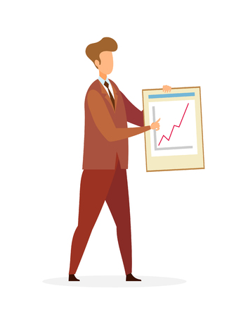 Businessman Pointing at Graph Growth Character. Cartoon Broker, Trader Showing Infographics. Office Worker Explaining Business Strategy. Online Trading, Data Analyst Flat Vector Illustration