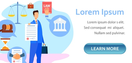 Modèle de page de destination pour les avocats d'entreprise et commerciaux. Conseiller juridique tenant un papier signé, un contrat, un document, un caractère d'accord. Travail, droit du travail, bannière Web, mise en page vectorielle plane