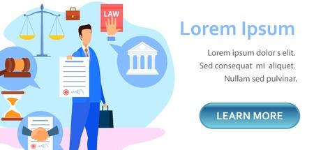 Modello di pagina di destinazione per avvocato aziendale e commerciale. Consulente legale in possesso di carta firmata, contratto, documento, carattere di accordo. Lavoro, diritto del lavoro Banner Web Layout piatto vettoriale