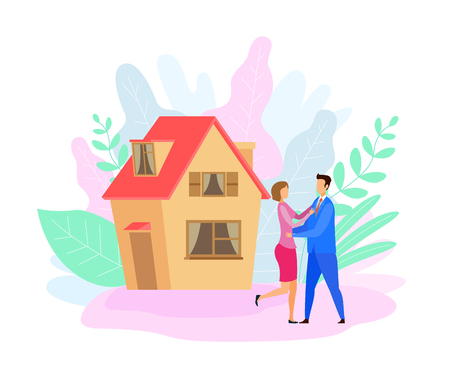 Couple Outside House Flat Vector Illustration. Husband in Suit and Wife Cartoon Characters. Happy Homeowners, Landlords. Married Pair Hugging. Cottage Purchase Celebration. Romantic Relationship Иллюстрация