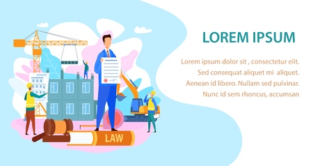 Labor and Construction Law Vector Landing Page. Apartment House Building Contract. Lawyer, Legal Advisor Showing Planning Permission Web Banner Template. Engineers, Builders Characters