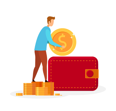 Man Putting Money in Wallet Vector Illustration. Faceless Guy Holding Golden Coin Cartoon Character. Economic Literacy, Savings Investment, Budget Growth. Personal Fund, Bank Deposit Metaphor Stock Illustratie