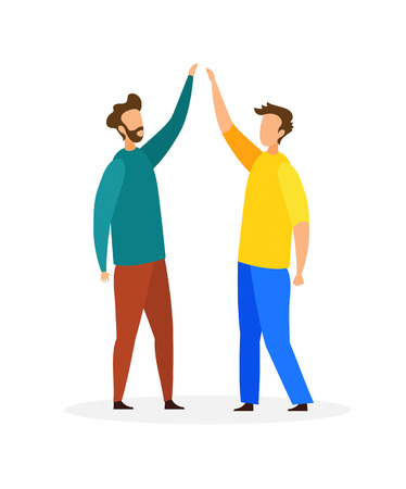 Friends Giving High Five Flat Vector Illustration. Two Young men in Casual Clothes Cartoon Characters. Informal Communication, Greeting. Brothers Conversation, Family Relationship. Friendship Illustration