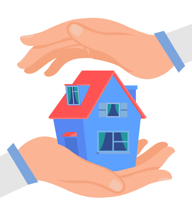 Hands Protecting Cottage Flat Vector Illustration. Realty Insurance Business. Estate Property Care Metaphor. Financial Protection Agency, Warranty, Safety Assurance Service. Building Miniature