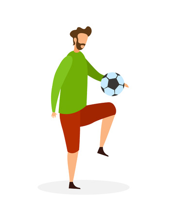 Football Player, Enthusiast Vector Illustration. Young Man in Sportswear Kicking Ball Cartoon Character. Soccer, European Competitive Sport. Championship match Preparation, Training for Competition Illustration