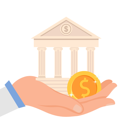 Financial Institution Flat Vector Illustration. Hand Holding Bank Building and Golden Coin. Money Management System, Banking Service, Business, Finances Investment. Structure with Columns