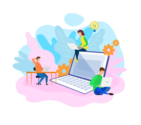 Developers Coworking Office Space Illustration. App, Website Programming, Development, Optimization. Workflow. SEO, SMM. Young Male, Female Programmers Flat Vector Characters. Cartoon Laptop Vektorové ilustrace