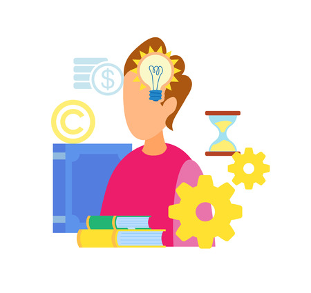 Smart Boy Having Idea Flat Vector Illustration. Genius, Intelligent Guy Thinking. Creative Solution Searching, IQ Test. Cartoon Character Brainstorming. Textbooks Piles. Clever Student Illustration