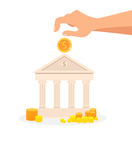 Deposit, Banking System Flat Vector Illustration. Financial Literacy, Budget Management, Money Investment. Piggy bank in Building Shape. Structure with Columns. Hand Putting Golden Coin in Bank