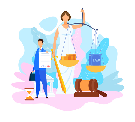 Juris Doctor Degree Program Vector Illustration. Lawyer Holding Insurance Contract Cartoon Character. Faceless Roman Goddess. Legal Book and Money in Scales. Balance Metaphor. Woman with Sword Illustration