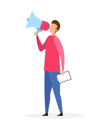 Man with Loudspeaker Flat Vector Illustration. Guy Holding Megaphone and Clipboard Cartoon Character. Activist Collecting Signatures, Opinion Poll. Social Awareness, Promoter with Announcement