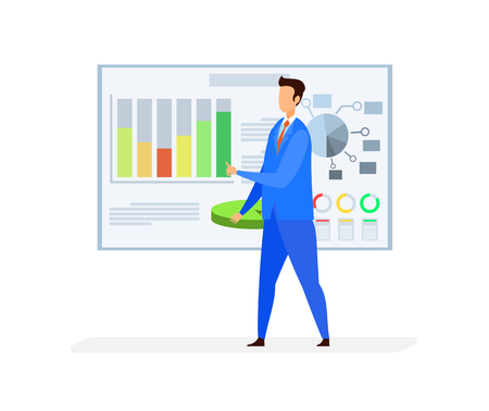 Business Analyst, Broker Flat Vector Character. Data Analysis, Analytics, Statistics. SEO, SMM, Stock Market Analyzing. Online Trading, Commerce Conversion. Infographics on White Board