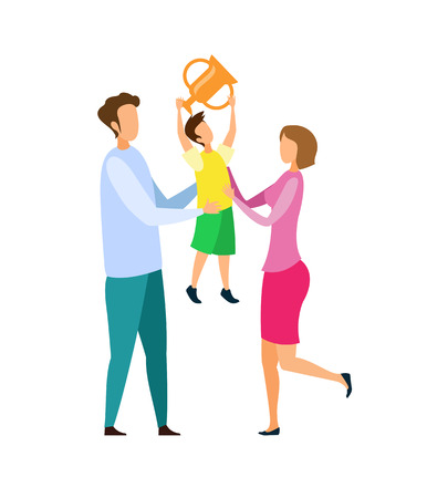 Achievement Celebration Flat Vector Illustration. Mother, Father and Son Cartoon Characters. Little Boy Holding Trophy, Proud Adults. Prize Winner with Cheerful Parents. Sport Success Ilustração Vetorial