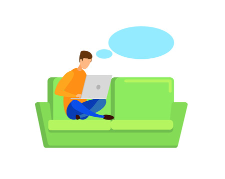 Writer, Blogger with Empty Speech Bubble Character. Freelancer Sitting on Sofa, Working. Student Preparing for Exams, Using Laptop. Internet Courses, Remote Job Illustration. Teenager Pastime, Leisure