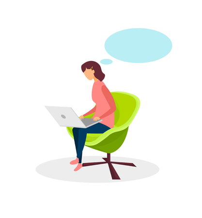 Young Girl with Empty Speech Bubble Flat Character. Freelancer Sitting in Armchair, Working. Student Preparing for Exams in Cafe, Using Laptop. Internet Courses, Online Education, Remote Job, Chatting 向量圖像