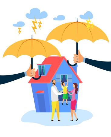 Ilustración de Vector plano de seguro de bienes raíces. Personajes de dibujos animados de hombre, mujer y niño feliz. Manos sosteniendo paraguas, metáfora de seguridad. Protección contra accidentes, desastres, garantía de seguridad de la propiedad