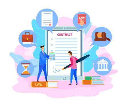 Business Partnership Contract, Cartoon Agreement. Lawyer and Client Discussing Case Flat Characters. Employee Signing Document Vector Illustration. Paper with Signature, Hourglass, Gavel Icons Stock Illustratie
