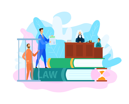 Courtroom Trial Process, Judgement Illustration. Criminal Defense Lawyer Protecting Client. Plaintiff, Public Prosecutor and Defender Cartoon Characters. Judge, Witness at Tribune. Criminal in Cage Illustration