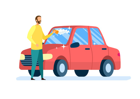 Car Owner Cleaning Auto Flat Vector Illustration. Young Man in Casual Clothes Cartoon Character. Self Service Automobile Wash, Vehicle Care Station. Faceless Guy Scrubbing Transport with Sponge