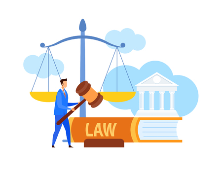 Lawyer, Legal Advisor Holding Gavel Flat Character. Cartoon Attorney with Law Symbols. Human Rights Defense Vector Illustration. Trial Procedure, Justice, Punishment. Huge Scales, Legal Book