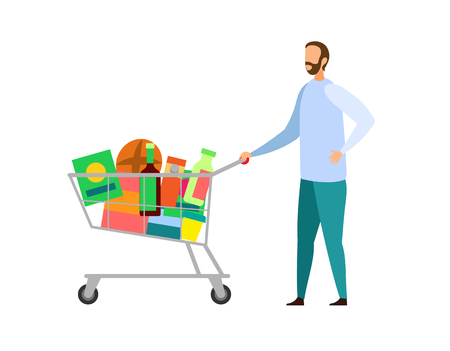 Grocery Store, Shopping Flat Vector Illustration. Young Man Pushing Trolley Cartoon Character. Customer Purchasing Food at Supermarket, Mall. Product Shop Customer with Full Cart. Retail Service Ilustração Vetorial