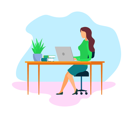 Female Boss, Employer Cartoon Vector Character. HR Agent, Recruiter at Workplace Flat Illustration. Office Worker, Freelancer Working. Businesswoman Using Laptop. Busy Woman, Student