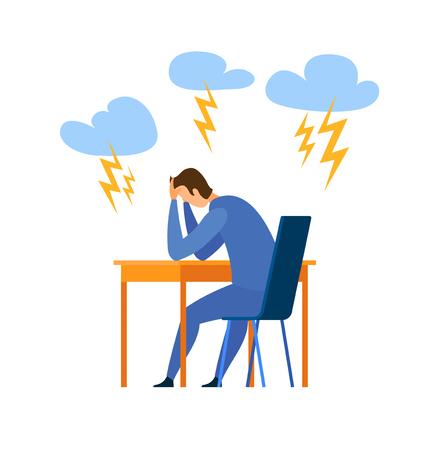 Burnout, Ilustración de Vector plano de problema de vida. Destacó el hombre joven sentado en el personaje de dibujos animados de la silla. Problemas en el trabajo, depresión. Mala condición mental, estado psicológico. Metáfora de la soledad