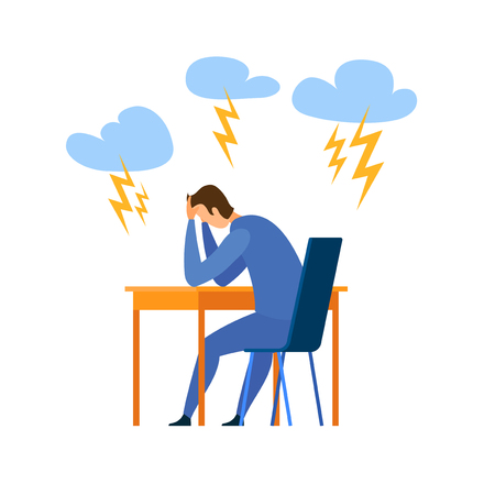 Burnout, Life Problem Flat Vector Illustration. Stressed Young Man Sitting in Chair Cartoon Character. Trouble at Work, Depression. Bad Mental Condition, Psychological State. Loneliness Metaphor