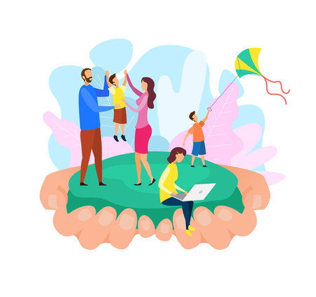 Family Bonding Abstract Flat Vector Illustration. Father, Mother, Sons and Daughter Cartoon Characters. Adults Holding Child, Boy Playing with Kite, Girl Using Laptop. Parents Spending Time with Kids